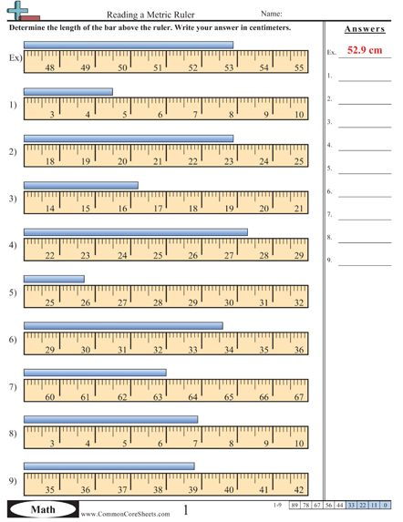 Reading A Metric Ruler Worksheet
