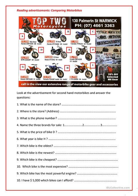 Reading Advertisements  Comparing Motorbikes Worksheet