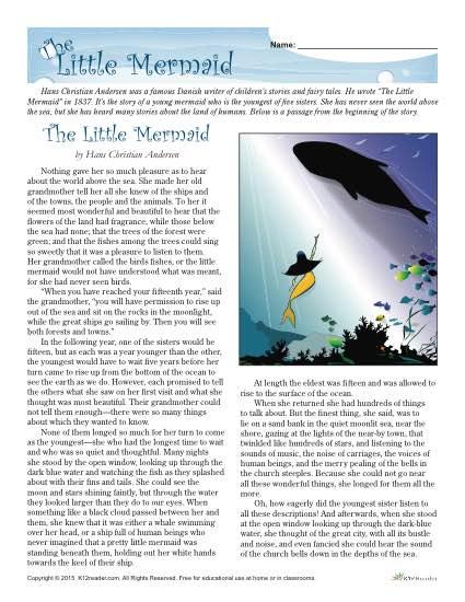 Reading Comprehension Worksheet Set For The Little Mermaid