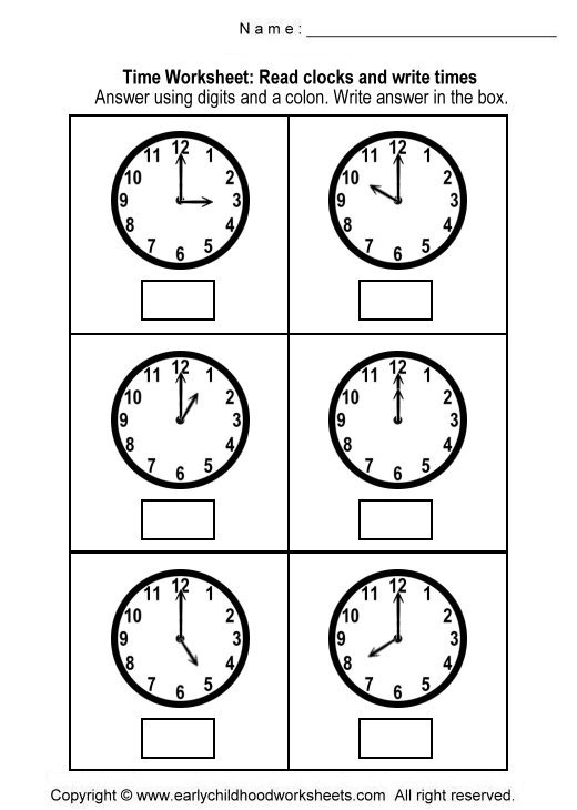 Reading Time Worksheets Worksheets For All