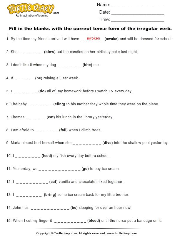 Regular And Irregular Verb Worksheets Worksheets For All