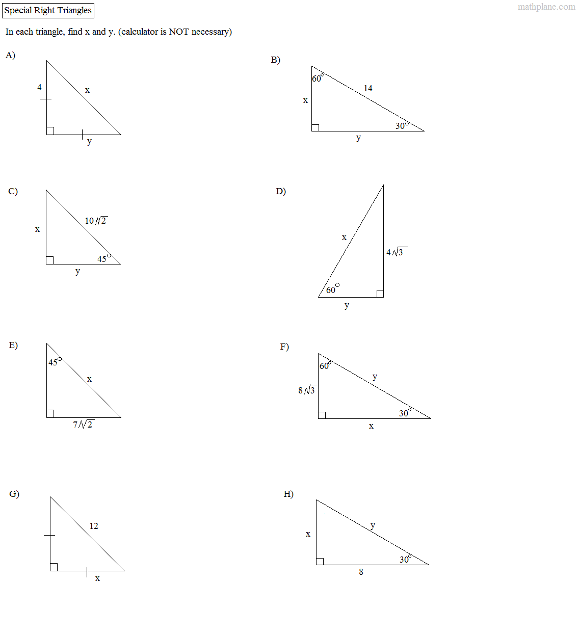 Right Triangles Worksheet The Best Worksheets Image Collection