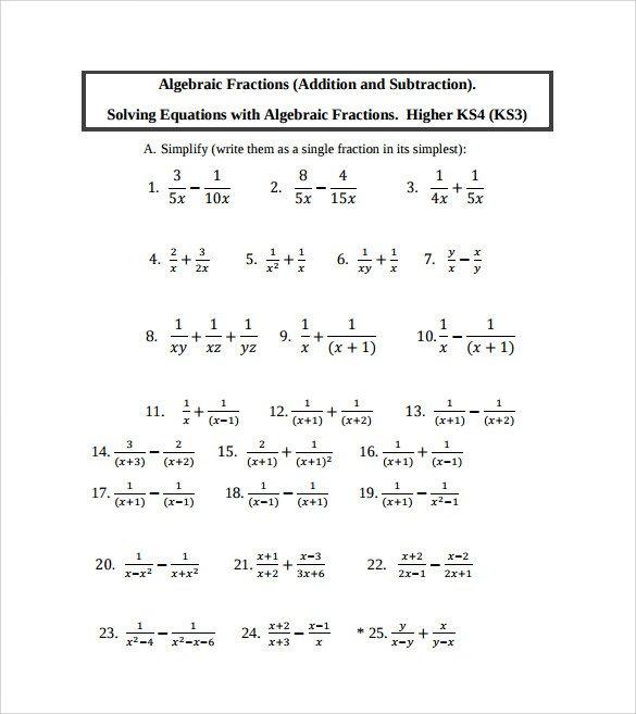 Sample Algebraic Subtraction Worksheet