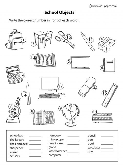 School Objects Coloring Pages School Objects Matching Bw