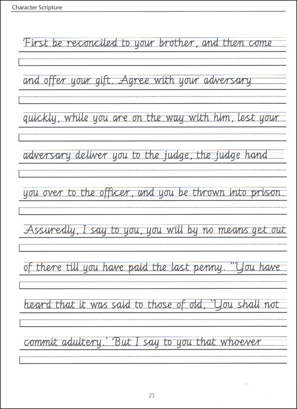 Scripture Character Writing Worksheets Getty Dubay Italic Advanced
