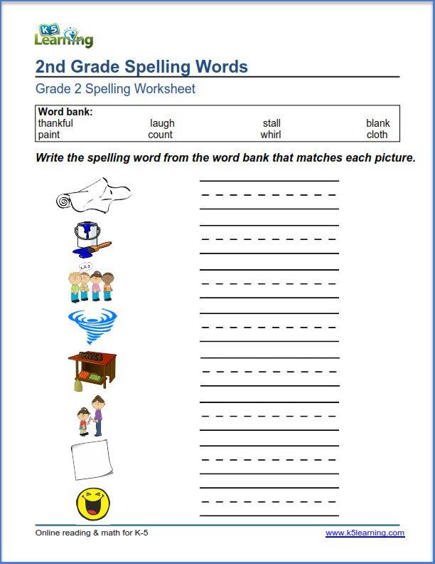 Second Grade Worksheets Second Grade Spelling Worksheets K5