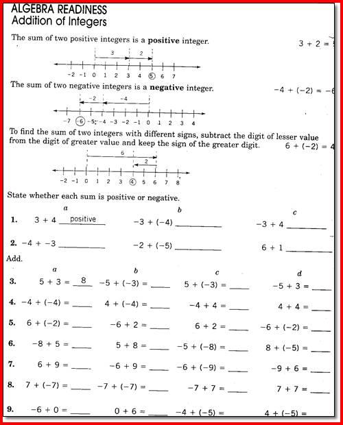 Seventh Grade Math Worksheets Free Worksheets For All