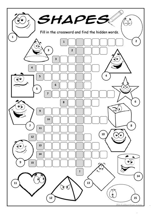 Shapes Crossword Puzzle Worksheet