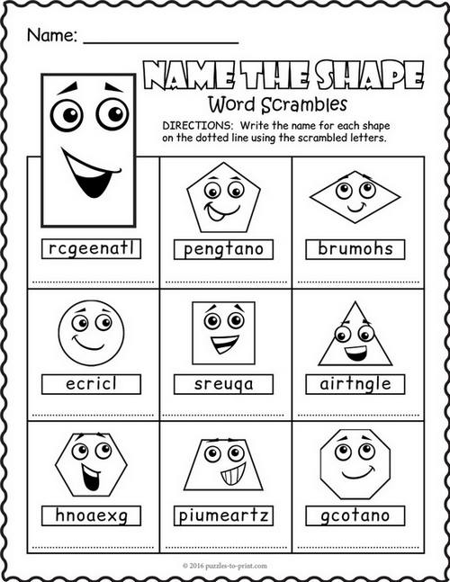 Shapes Word Scramble Puzzle Worksheet
