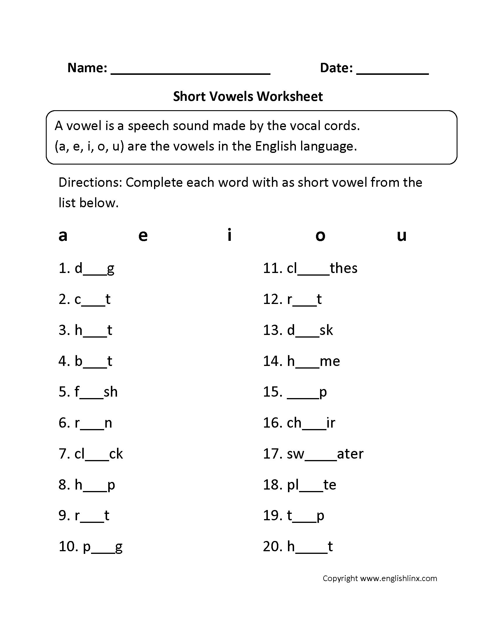Short Vowels Worksheets 2nd Grade The Best Worksheets Image