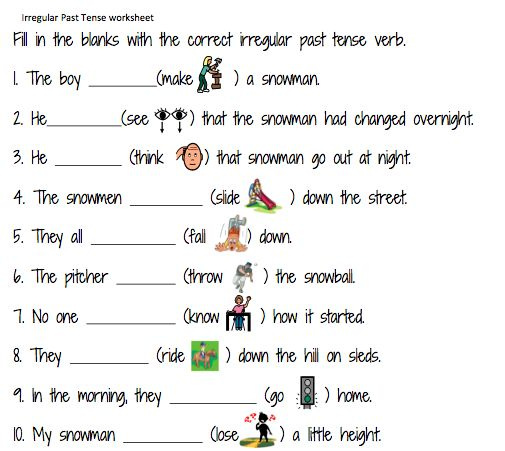 Simple Past Tense Worksheets For Grade 1