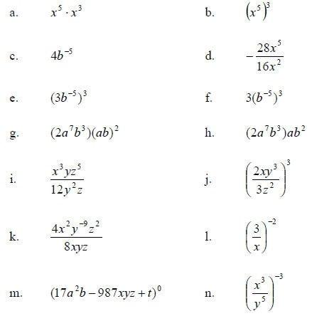 Simplifying Exponents Worksheet
