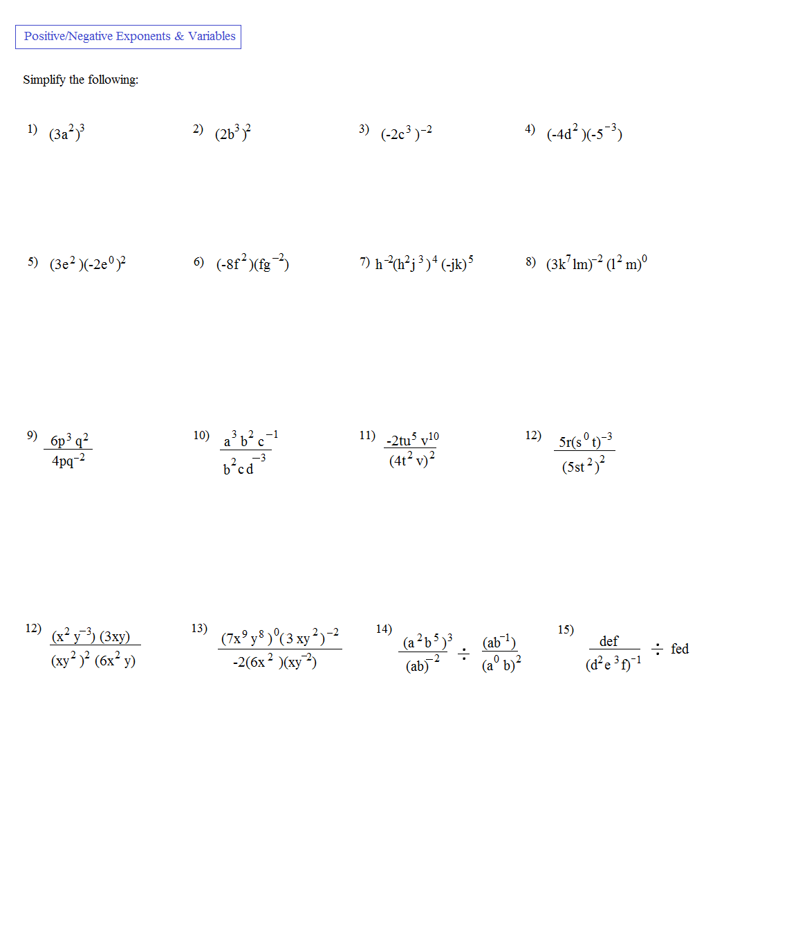 Simplifying Expressions With Exponents Worksheet The Best