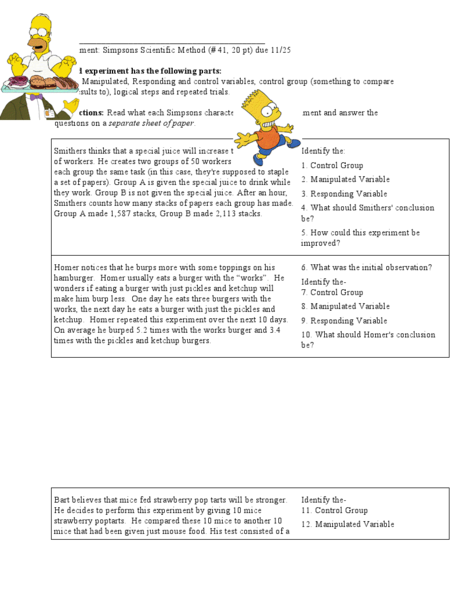 Simpson Science Worksheet Answers Worksheets For All