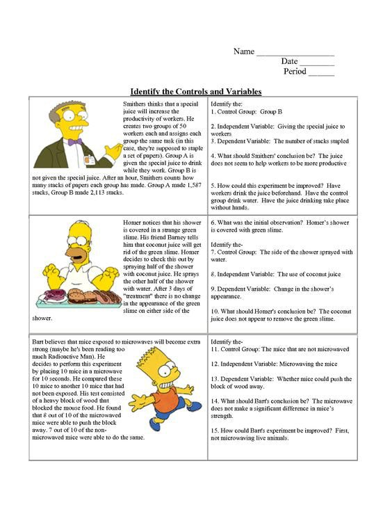 Simpsons Variables Worksheet Answers Bart Simpson Controls And