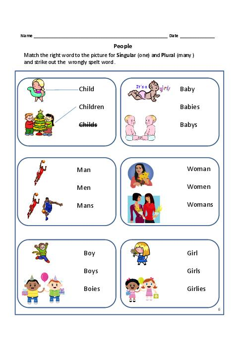 Singular And Plural Worksheets For Grade 1 And 2