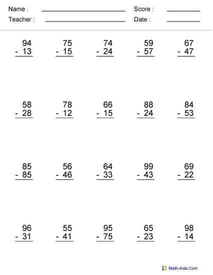 Sixth Grade Math Exercises