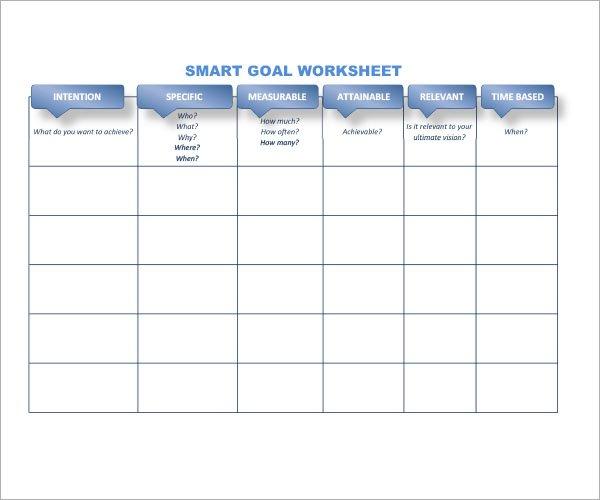Smart Goal Worksheet Xlsx