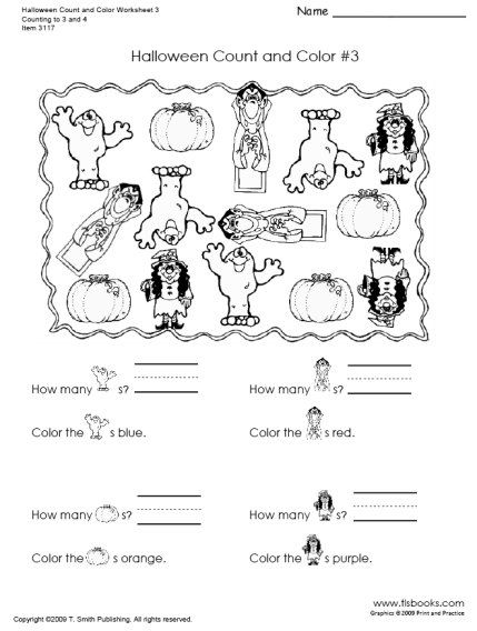 Snapshot Image Of Halloween Count And Color Worksheets 3 And 4