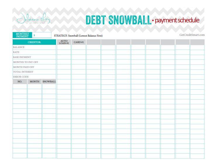 Snowball Debt Spreadsheet