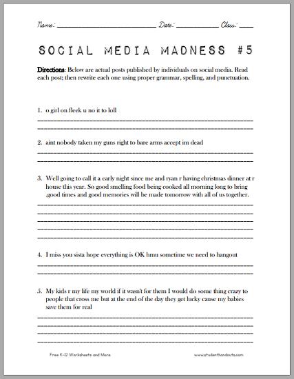 Social Media Madness Worksheet  5