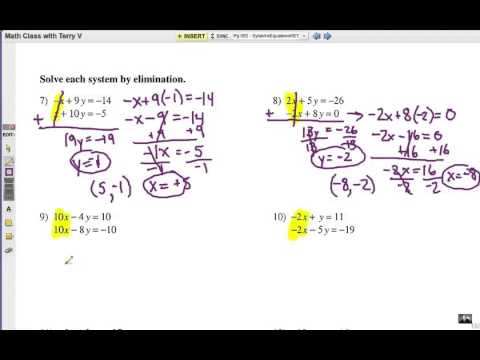 Solve Systems Of Equations  Elimination Method