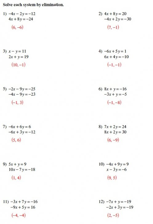 Solving Systems Of Equations Elimination Worksheet Answers Inside
