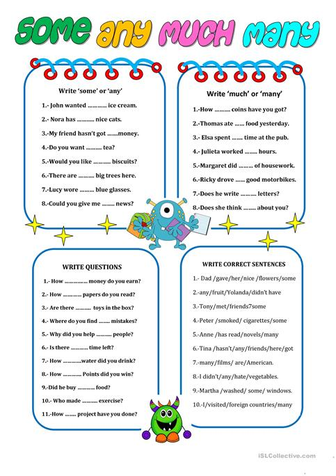 Some, Any, Much, Many Worksheet