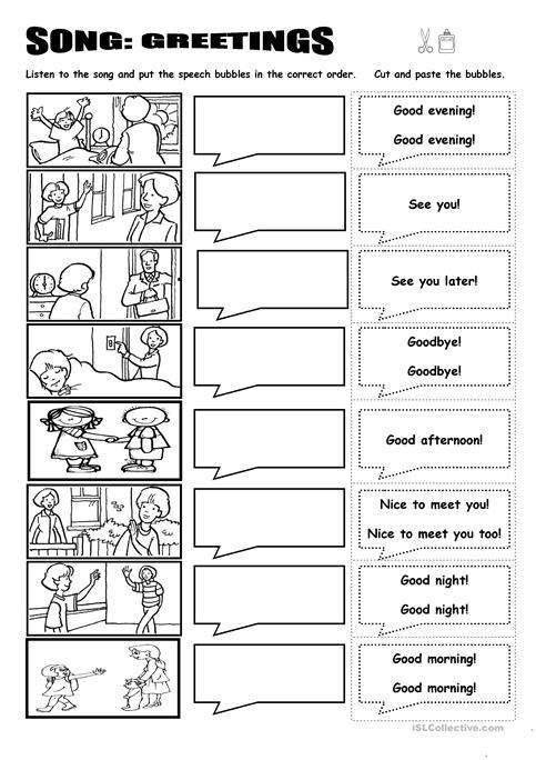 Song  Greetings Worksheet