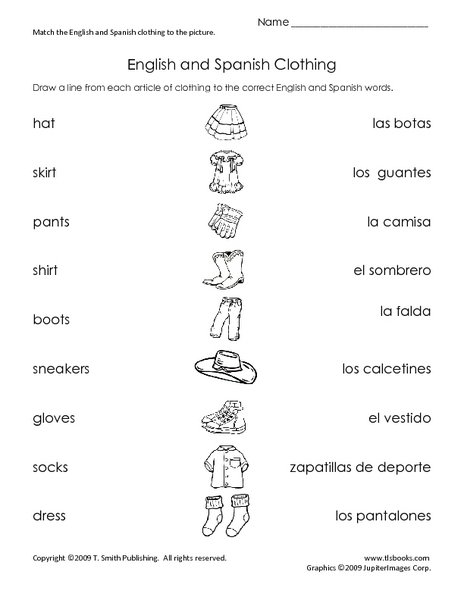 Spanish Clothes Worksheet Worksheets For All