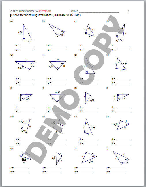 Special Right Triangle Worksheet Answers Worksheets For All