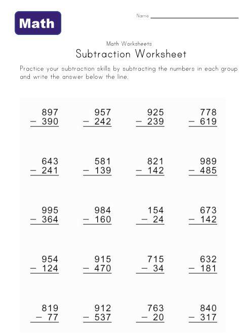 Subtracting 3