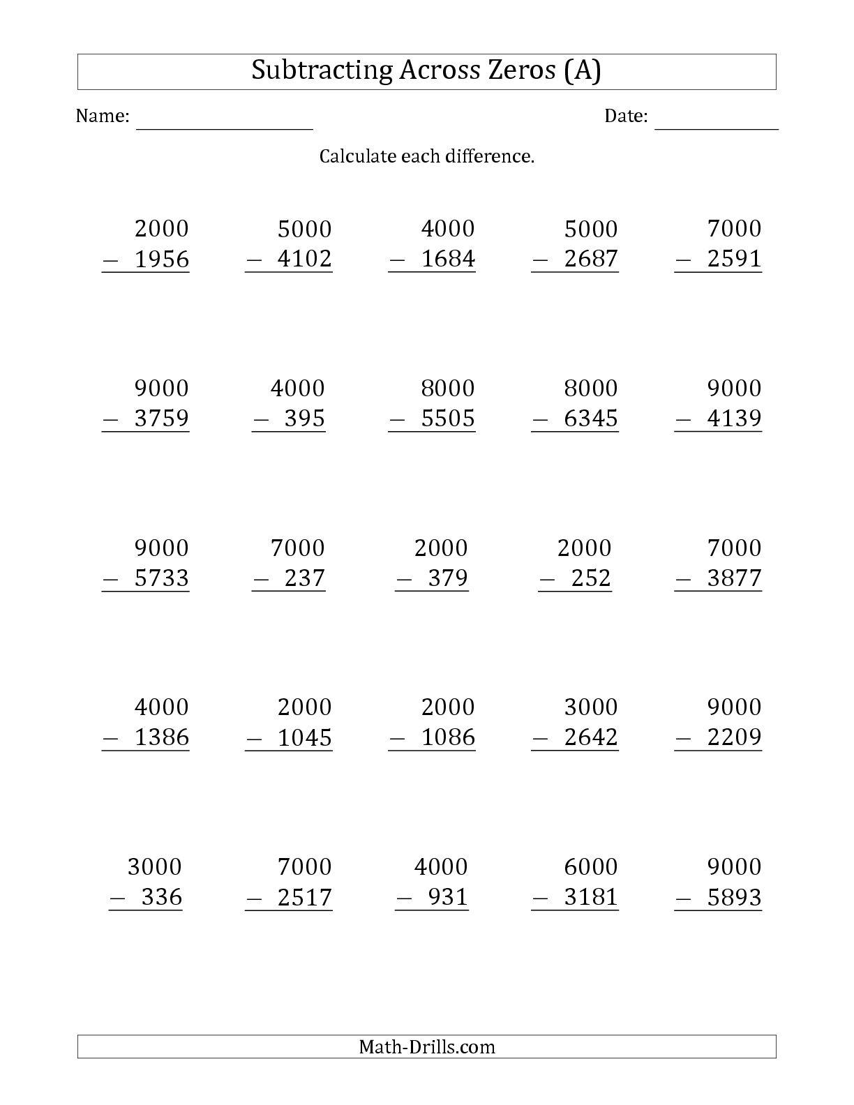 Subtracting Across Zeros Worksheets 3rd Grade