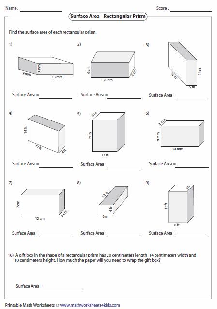 Surface Area Of Rectangular Prisms