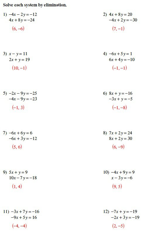 Systems Of Equations Elimination Method Worksheet Solving Systems