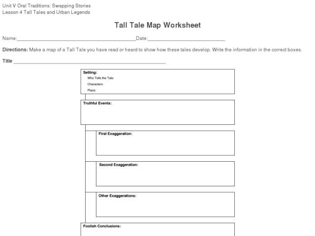Tall Tale Worksheets Worksheets For All