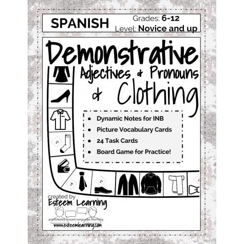 Task Cards, Inb Notes & Game For Clothing, Demonstrative