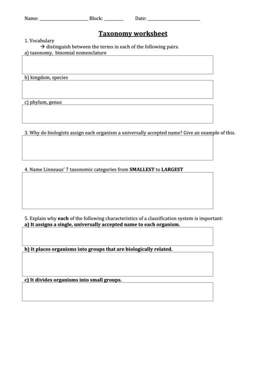 Taxonomy Worksheet Biology Answers