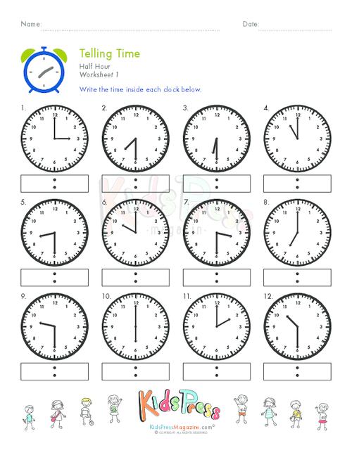 Telling Time Half Hour Worksheet   1