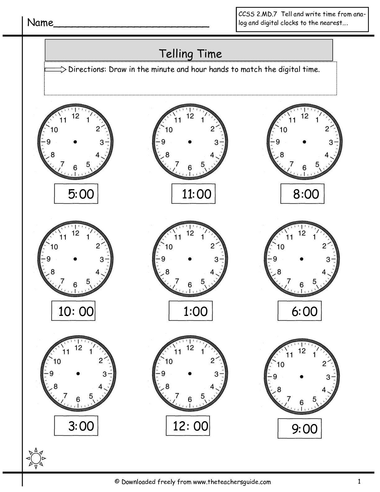 Telling Time Worksheets Online The Best Worksheets Image