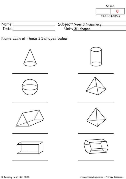 This Worksheet Is A B W Resource  Children Name The 3d Shapes