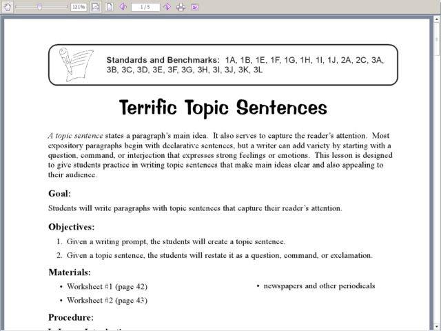 Topic Sentence Worksheet 5th Grade Worksheets For All