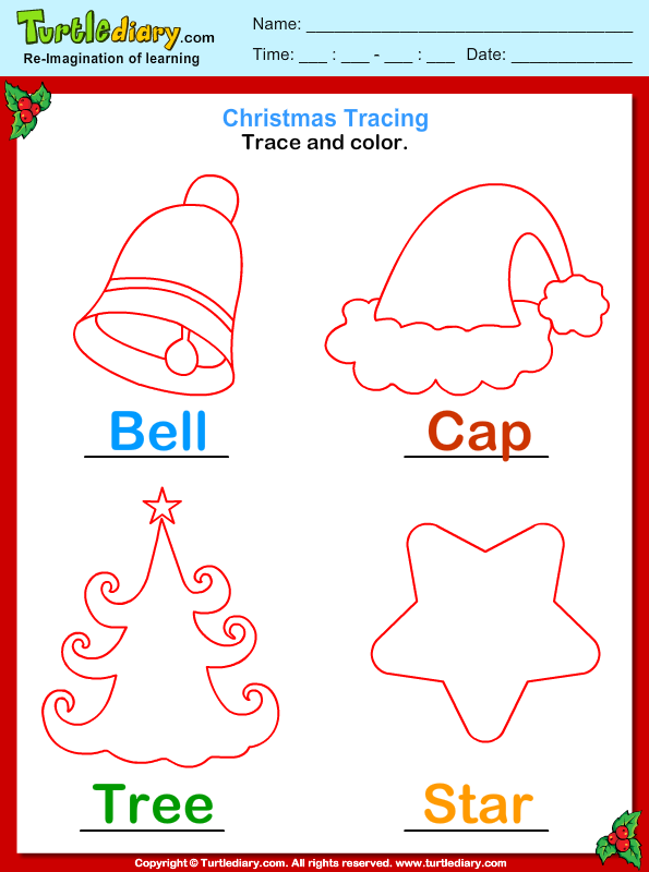 Trace And Color Christmas Vocabulary Worksheet