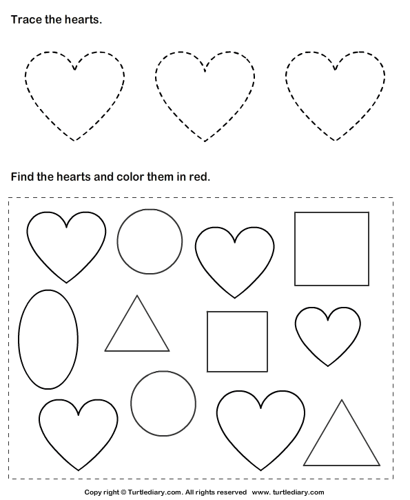 Trace Hearts And Color Them Worksheet