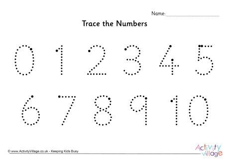 Trace The Numbers 0 To 10 Dotted