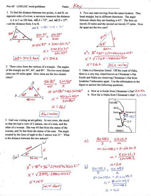 Trigonometry Word Problems Worksheets With Answers Best Solutions
