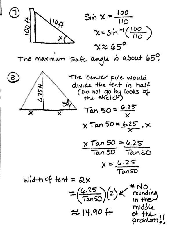 Trigonometry Word Problems Worksheets With Answers Honors Alggeo