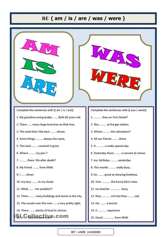 Use Of Is Are Am Was Were Worksheets