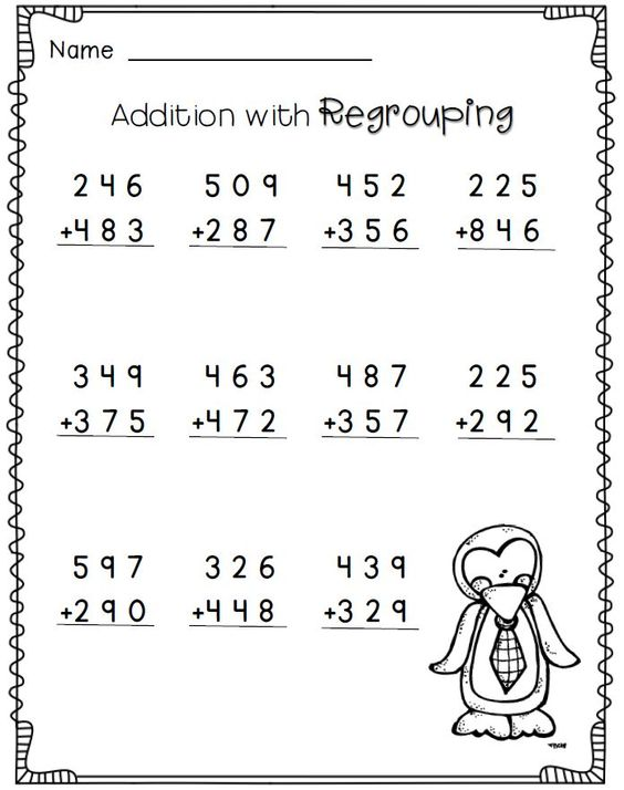 Useful Addition Worksheets With Regrouping 2nd Grade With More
