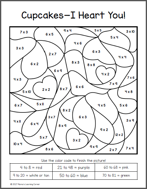 Valentines Day Color Number Multiplication Worksheets Mamas